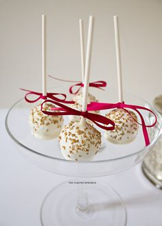 raspberry and white chocolate cake pops for a bridal shower