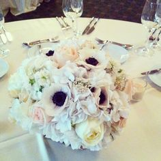 Anemone Centerpiece. French Romance Wedding Inspiration. Natural Beauties Floral. Chicago.