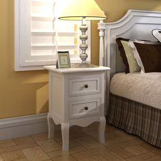 2 x Nachttisch Weiß Nachtschrank Nachtschränkchen Kommode Schrank Schlafzimmer