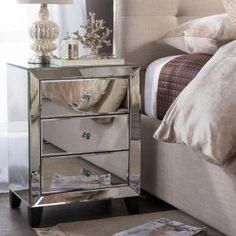 Graham Mirror Two Drawer End Table Nightstand