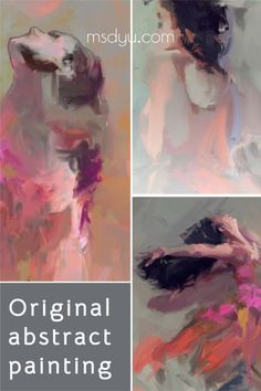 Contemporary Abstract woman art decor by an abstract female artist Ms.Dyu in contemporary style. Get Modern girl decorative artwork ideas for living room interior #artpaintings #oilPainting #MsDyu