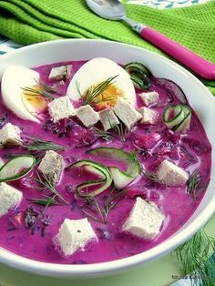 chłodnik litewski , zupa , buraczki , botwina , na zimno , dla ochłody , obiad , ogórki , zielenina ,