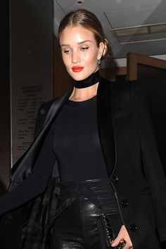 Rosie Huntington-Whiteley gave her signature nudes the night off in favor of cat-eyes and high-impact lips