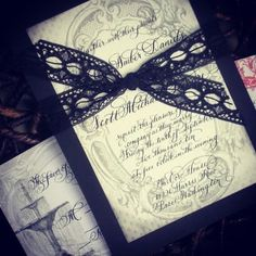 Vintage Calligraphy and Lace Wedding Invitation in black and red...Love No. 009....handwritten and handmade