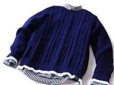 White Mountaineering/LIGHT YARN ROUND FRONT BODY CABLE ROUND NECK KNIT SWEATER