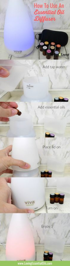 Learn how to use an essential oil diffuser step by step tutorial by Loving Essential Oils, PLUS get lots of essential oil recipes when you visit our blog. #lovingessentialoils #essentialoildiffuser