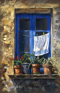 Malcolm Surridge – The Blue window.jpg – – Karin Sijbrands Malcolm Surridge – The Blue window.jpg – Malcolm Surridge – The Blue window. Watercolor Landscape, Landscape Paintings, Watercolor Paintings, Oil Pastel Paintings, Chalk Pastel Art, Chalk Pastels, Pinturas Color Pastel, Pictures To Paint, Painting Techniques