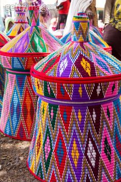 African Baskets, woven in many beautiful colors! World Of Color, Color Of Life, African Design, African Art, Art Africain, Thinking Day, Basket Weaving, Woven Baskets, Rainbow Colors