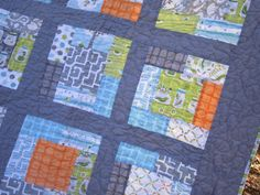 Backyard Baby Crib Baby Boy Quilt -- grey, orange, blue, green