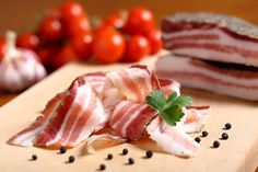 Italian Bacon Salt On Wooden Chopping Stock Photo (Edit Now) 136649978 Wooden Chopping Boards, Tuna, Wine Recipes, Carne, Bacon, Food And Drink, Salt, Fish, Wine