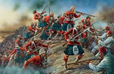 The Black Watch storming the Egyptian lines at Tel El Kebir on 13th September 1882.