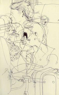 Kenichi Hoshine   Sketch on train from Montpellier, France to Barcelona, Spain - Ballpoint pen on paper