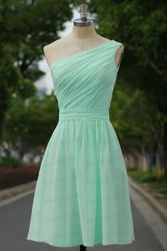 Mint green bridesmaid dressone shoulder mint party by loveinprom
