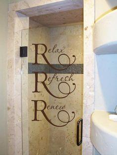 Relax Refresh Renew 37x20  Vinyl Lettering for the Bathroom Wall Saying Wall. $35.99, via Etsy.