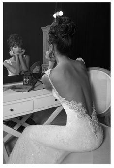 Backless Wedding Dress Gown - An Inbal Dror creation from her Haute Couture 2012 Collection that we can't help but to adore! Show off your back in this 2-strap lace backless wedding dress.