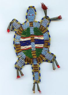Sioux Beaded Buffalo Hide Umbilical Turtle Fetish ------  (Vedauwoo Antiquities)