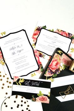 DIY Wedding Invitation Envelop Liners Black and White Stripe invites