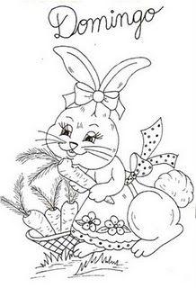 desenho de coelhinha com cesta de cenouras para pintar