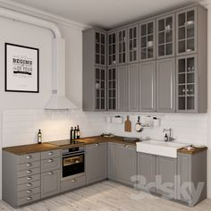 Kitchen integrated: tips for decorating and 60 inspirations with photos - Home Fashion Trend Bodbyn Kitchen Grey, Kitchen Ikea, Kitchen Benches, Modern Kitchen Cabinets, Grey Kitchens, Home Decor Kitchen, Interior Design Kitchen, Home Kitchens, Craftsman Kitchen