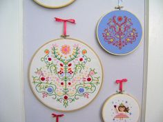 Tree of Life Embroidery - versions 1 and 2 together
