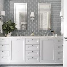Heather Garrett Design - bathrooms - gray subway tile, gray subway tiled backsplash, mirror framed mirror,
