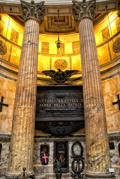 A photo of the burial site of Italy's first king, located in the Pantheon, in Rome, Italy. The king is from Torino, Italy. This is the building where Michelangelo went every day, for three years, to study the dome ceiling before he began creating his famous masterpiece on the ceiling of the Sistine Chapel.