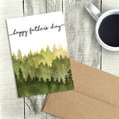 Happy Father's Day Card, Digital Printable, Watercolor Forest, PDF Instant D… – Birthday Card Ideas – Vatertag Birthday Cards For Him, Handmade Birthday Cards, Birthday Gifts, Card Birthday, Birthday Ideas, Birthday Card For Grandpa, Birthday Quotes, Printable Birthday Cards, Birthday Wishes