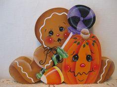 HP Gingerbread Halloween candy and pumpkin Shelf Sitter hand painted USA