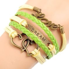 Green Yellow Leather Fashion Love Dream Hearts Wristband Strap Bracelet By VAGA®: Amazon.ca: Beauty