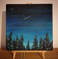 NEW A Beautiful Night Time Starry Sky in a Forest Acrylic Painting on Box Canvas, Twilight mood sky. Easy Canvas Art, Simple Canvas Paintings, Small Canvas Art, Easy Canvas Painting, Easy Nature Paintings, Acrylic Canvas, Night Sky Painting, Forest Painting, Winter Painting