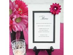 DIY menu from Michaels. Use an all-purpose card, mat frame and embellishments to complete the look.
