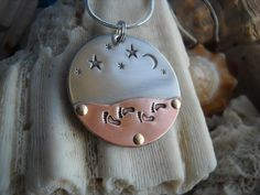 Walk under the stars Hammered Metal Riveted Footprints Moon Layered Jewelry Necklace Uniquely Impressed