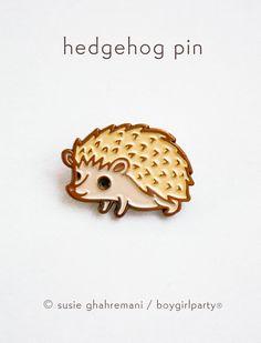 Hedgehog Pin Enamel Pin Hedgehog Enamel Pin by boygirlparty