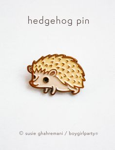 Hedgehog Pin Enamel Pin Hedgehog Enamel Pin by boygirlparty