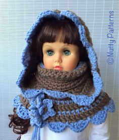 CHARLOTTE HOOD WITH COWL is posh and functional with a touch of classics from Jane Austen. In windy and real cold weather pull up the cowl and cover mouth, nose and ears. Great way to protect your kid or yourself from ear infection or caching a cold. If the weather is good pull the cowl under your chin. Definitely very easy to make. Using contrasting colors grabs attention right away. You can make this pattern for anyone. This pattern is age free…… <3
