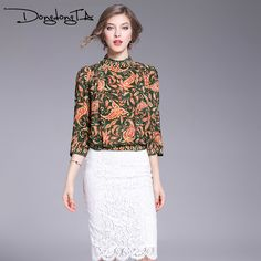 DONGDONGTA Spring Women Silk Fashion Print Three Quarter Wide Sleeve Stand Collar Elastic Slim Waist Blouses