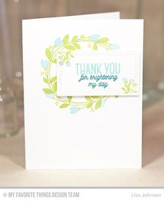 Spring Wreath, Wonky Stitched Rectangle STAX Die-namics - Lisa Johnson  #mftstamps