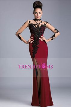 Cheap lace dress belt, Buy Quality dress tailor directly from China dresses lace Suppliers: Burgundy Mermaid Evening Dress with Long Sleeve High Neck Black Lace Appliques 2015 vestido de noite longo festa Evening Gowns Split Prom Dresses, Prom Dresses 2016, Prom Dresses Long With Sleeves, Mermaid Prom Dresses, Cheap Prom Dresses, Party Dresses, Prom 2016, Dress Prom, Dress Lace