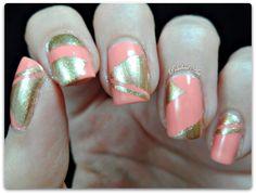 China Glaze Pinking Out The Window geometric tape nail art