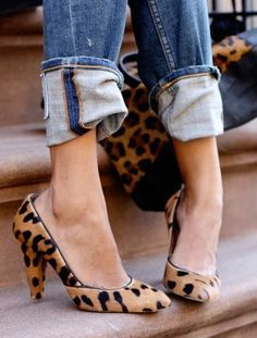 Denim + Animal Print High Heel Pumps = Perfect!