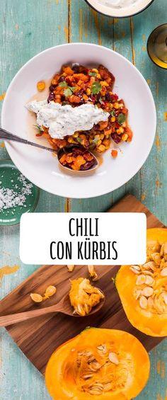 Chili con Kürbis Chili con pumpkin Chili con carne with pumpkin and beans Quick Recipes, Veggie Recipes, Fall Recipes, Vegetarian Recipes, Cooking Recipes, Healthy Recipes, Cooking Food, Pumpkin Recipes, Soul Food