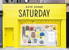 Kate Spade Saturday pop up shop front Shop Front Design, Store Design, Template Web, Kate Spade Saturday, Retail Concepts, Branding, Pop Up Shops, Web Design, Design Ideas