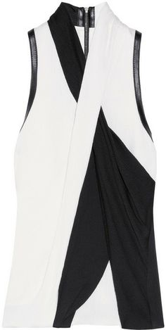 Helmut Lang Draped leather-trimmed crepe top on shopstyle.com