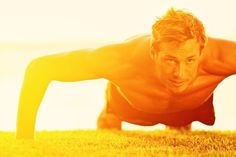 Sport fitness man push-ups. Male athlete exercising push up outside in sunny sun , Fitness Man, Health Fitness, Aerobic Fitness, Men Health, Fitness Sport, Fitness Equipment, Muscle Fitness, Gain Muscle, Muscle Men