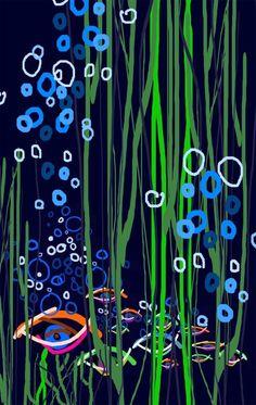 'Burbujas', una obra de Colin Bertholet que se incluye en su colección 'Índigo' y se puede adquirir en la tienda online http://colingarabatosdigitales.com/ #DigitalArt #iPad #GarabatosDigitales