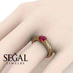 Unique Engagement Ring 14K Yellow Gold Vintage by SegalJewellery