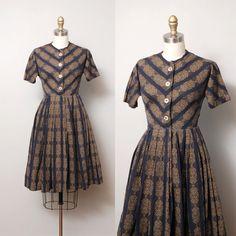 1950s Dress  Chevron Folk Print 50s Full by OldFaithfulVintage