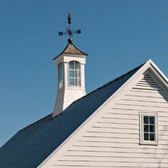 Cupola and Weathervane - traditional - exterior - dc metro - Richard Leggin Architects Traditional Exterior, Traditional House, Blue Roof, Fibreglass Roof, Southern House Plans, Weather Vanes, Roof Panels, Roofing Systems, Architectural Features