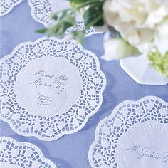 Brides: What's Your Reception Style?      Instead of place cards - use a doily...