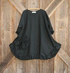 Black linen babydoll dress